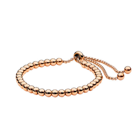 Ellani Stainless Steel Ball Bracelet with Rose Gold Plate SB176R