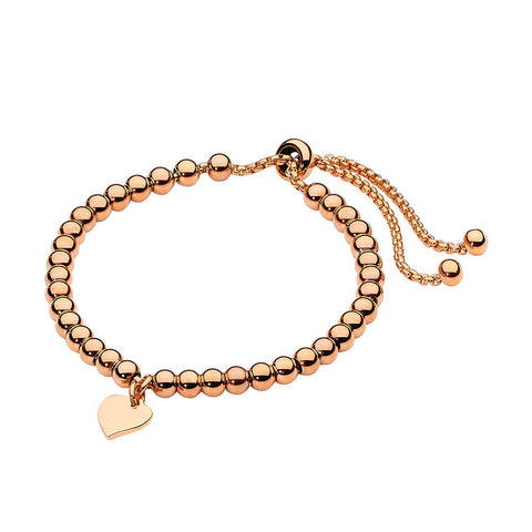 Ellani Stainless Steel Ball Bracelet SB177R with Heart & Rose Gold Plate