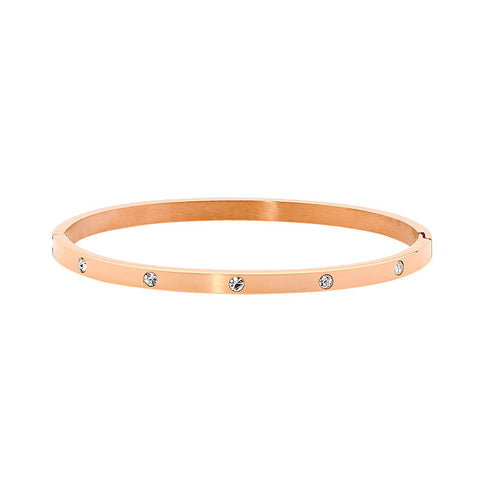 Ellani Stainless Steel Bangle SB180R With Rose Gold Plate