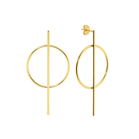 Ellani Stainless Steel Open Circle w Long Bar Earrings & Gold IP Plating (available Gold, Rose, Silver) SE177G