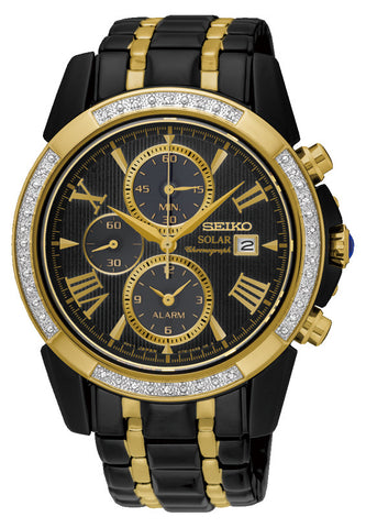 Seiko Le Grand Sport Solar Chronograph SSC514P Gold Black & Diamonds