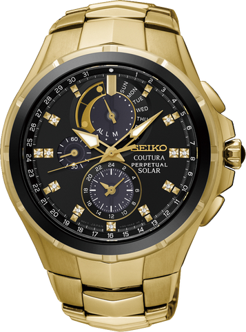 Seiko Gents Perpetual Chronograph Watch Coutura SSC572P Gold Black Dial