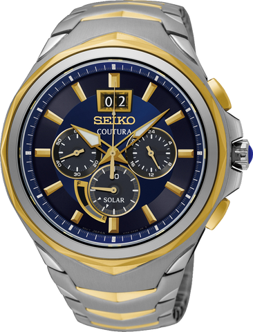 Seiko Solar Chronograph Coutura SSC642P Gents Watch Blue Face