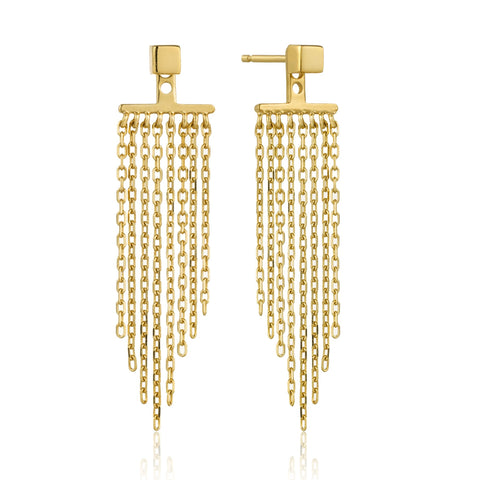 "Ania Haie ""Fringe Appeal"" Fringe Fall Ear Jackets E013-05G Sterling Silver with Yellow Gold Plate"