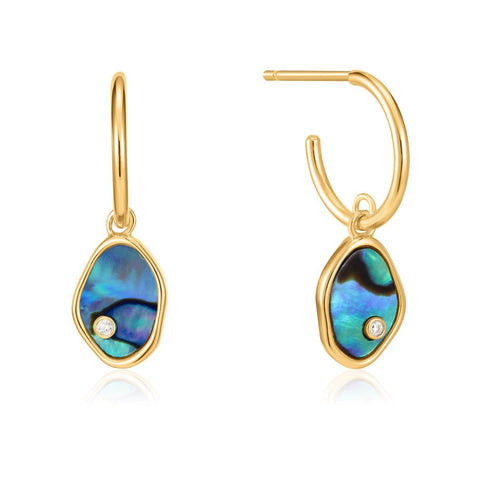 Ania Haie Gold Tidal Abalone Mini Hoop Earrings E027-01G