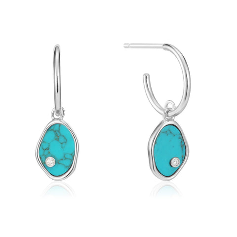 Ania Haie Silver Tidal Turquoise Mini Hoop Earrings E027-01H