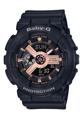 BABY G BA-110RG-1ADR Watch Black with Rose Face