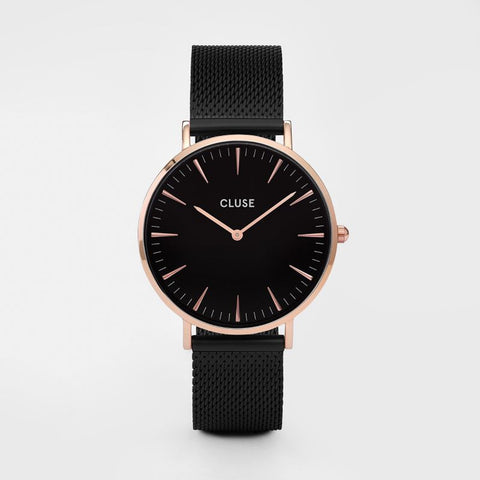 Cluse Watch Mesh Rose Gold Black / Black CL18034 La Boheme
