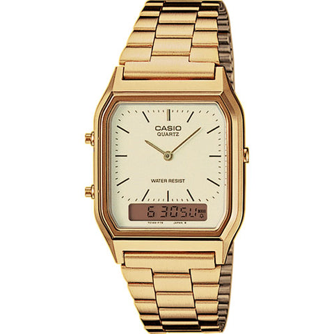 7176a23cccd8 Classic Vintage Gold Colour Duo Casio Watch AQ230GA-9D
