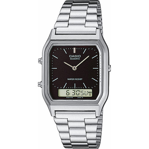ea298e42ed64 Classic Vintage Silver Colour Duo Casio Watch AQ230A-1DS Black Face ...