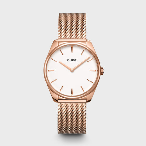 CLUSE Feroce Rose Gold White with Rose Gold Mesh CW0101212002 Watch