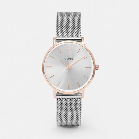 Cluse Watch Mesh Rose Gold / Silver Face CL30025 Minuit