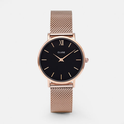 Cluse Watch Minuit Mesh Rose Gold / Black Face CL30016 Ladies Watch