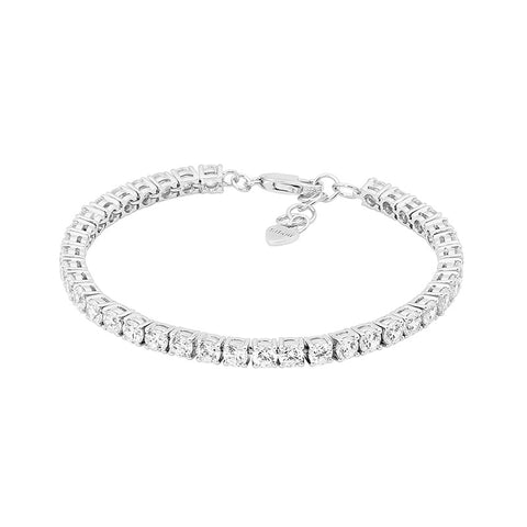 Ellani B201S Sterling Silver Tennis Bracelet with Round Brilliant CZ