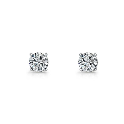 Ellani E130 Sterling Silver Stud Round CZ Earrings Four Claw