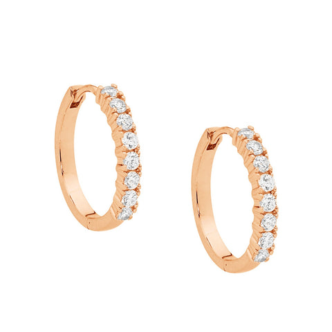 Ellani E391R Sterling Silver Round Hoop Earrings with CZ Rose Gold Colour