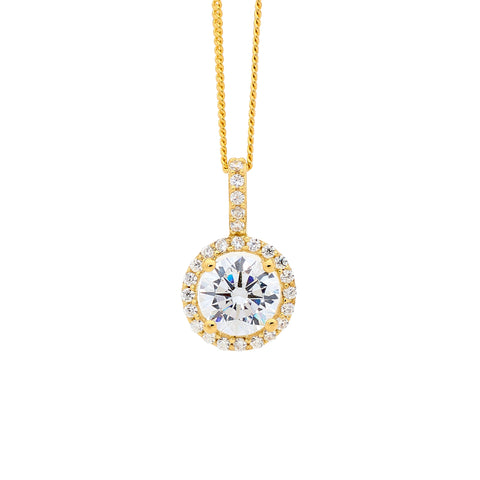 Ellani P599G Gold plated CZ Solitaire with CZ Halo Pendant