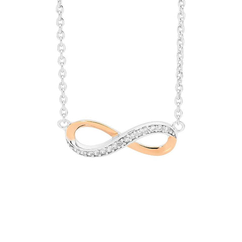 Ellani P669R Rose Gold Plated Infinity Pendant with CZ
