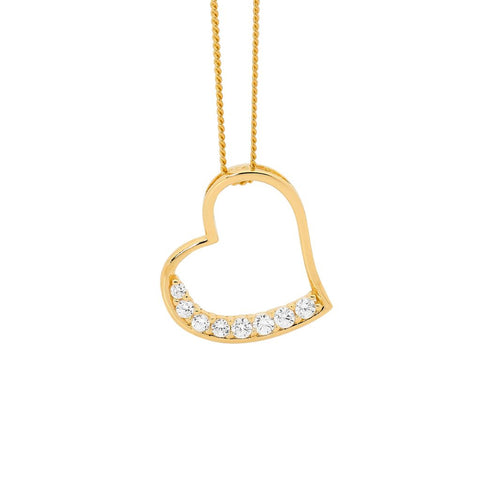 Ellani P748G Yellow Gold Plated Sterling Silver Heart Pendant CZ Set 17mm