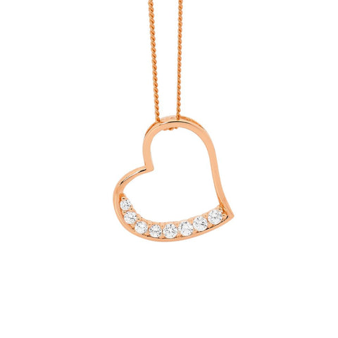 Ellani P748R Rose Gold Plated Sterling Silver Heart Pendant CZ Set 17mm