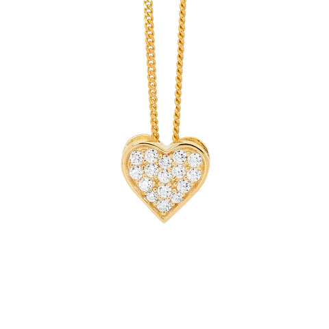 Ellani P749G Yellow Gold Plated Pavé Set Heart Pendant
