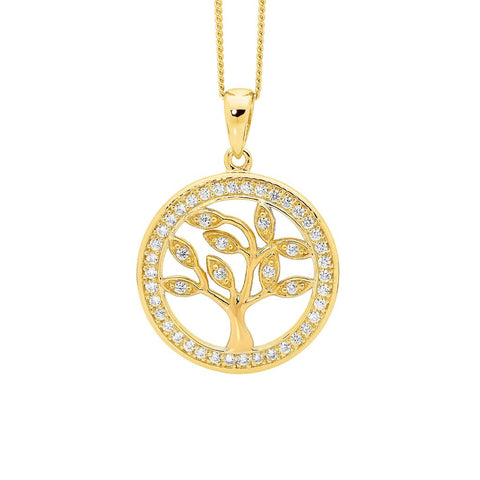 Ellani P777GP Sterling Silver Tree Of Life Pendant with Gold Plate 20mm