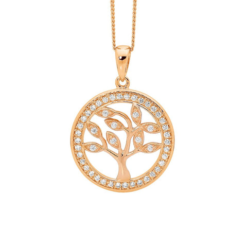 Ellani P777RP Sterling Silver Tree Of Life Pendant With Rose Gold Plate 20mm