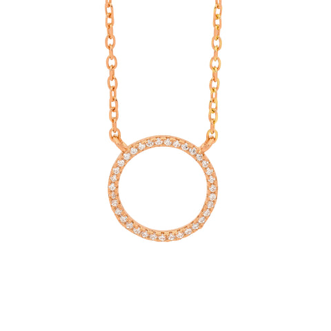 Ellani P796R Rose Gold Plated Sterling Silver Circle 14mm Pendant