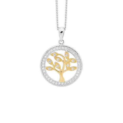 Ellani P820G Sterling Silver Tree Of Life Pendant 15mm with Yellow Plate