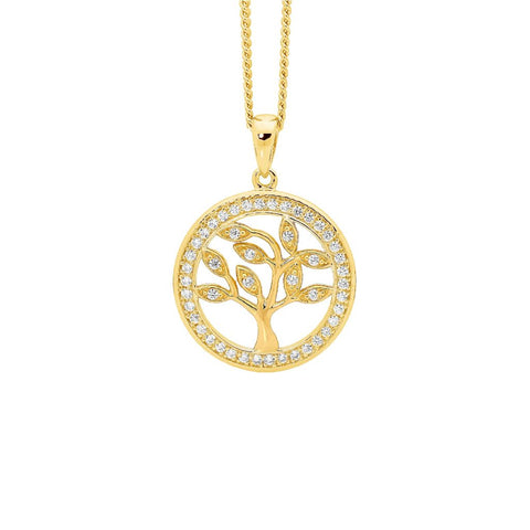 Ellani P820GP Sterling Silver Tree Of Life Pendant with Gold Plate 15mm