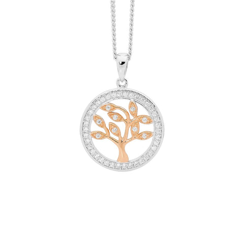 Ellani P820R Sterling Silver Tree Of Life Pendant 15mm with Rose Plate