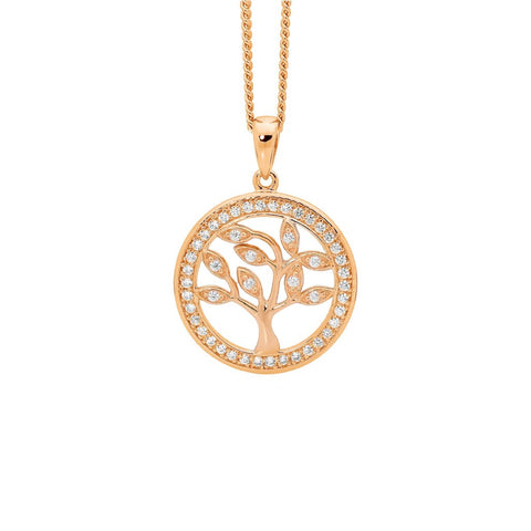 Ellani P820RP Sterling Silver Tree Of Life Pendant with Rose Gold Plate 15mm