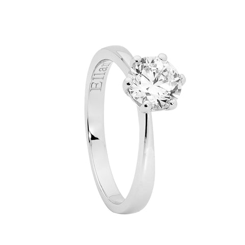 Ellani R468 Sterling Silver Six Claw 7mm CZ Ring