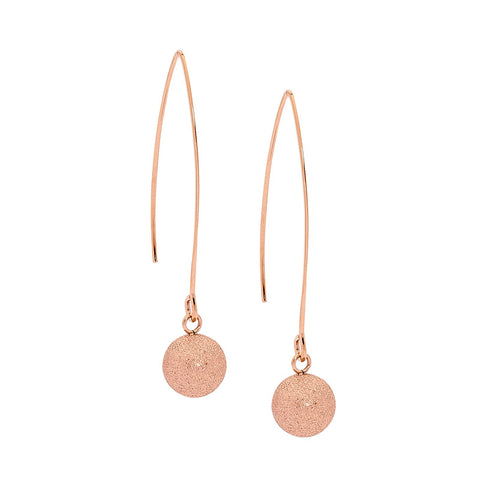 Ellani Rose Gold Stainless Steel Drop Earrings w Frosted Ball SE147R