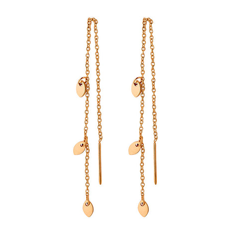 Ellani Rose Gold Stainless Steel Thread Earrings SE153R