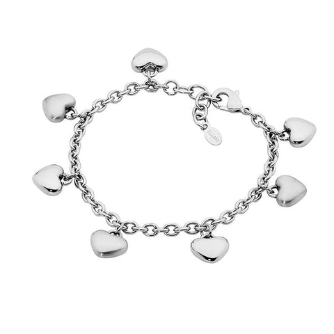 Ellani Stainless Steel Bracelet SB124S  Polished & Brushed  Hanging Hearts