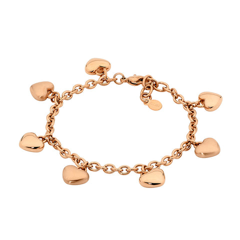 Ellani Stainless Bracelet SB124R with Rose Gold Plate Polished & Brushed Hearts