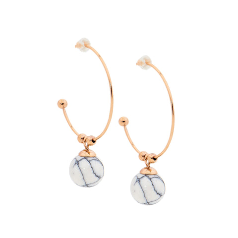 Ellani Stainless Steel 27mm Hoop Earrings with 10mm Howlite Ball & Rose IP SE195