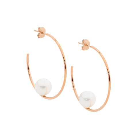 Ellani Stainless Steel 39mm Hoop Earrings with Shell Pearl & Rose IP SE194R