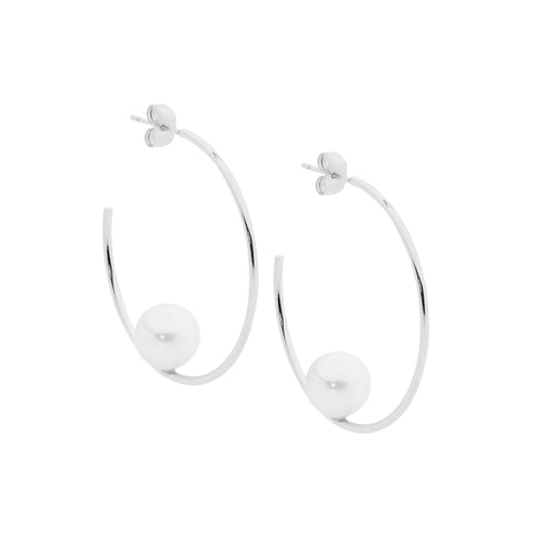 Ellani Stainless Steel 39mm Hoop Earrings with Shell Pearl SE194S