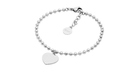 Ellani Stainless Steel Ball Chain Bracelet with Flat Heart SB195S