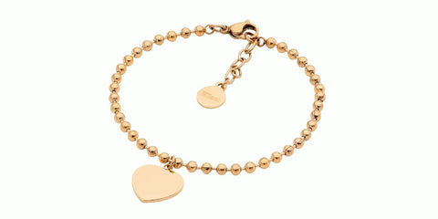 Ellani Stainless Steel Ball Chain Bracelet with Flat Heart & Yellow Gold Plate SB195G