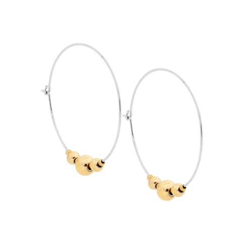 Ellani Stainless Steel Hoop Earrings With Ball Feature SE190S-G with Gold IP