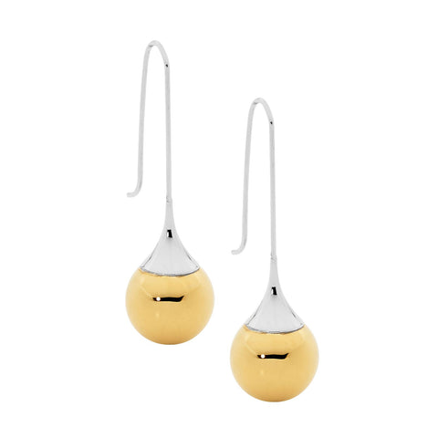 Ellani Stainless Steel Long Drop Earrings w Yellow Gold IP Plating SE169G