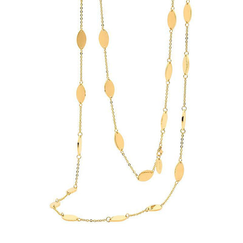 Ellani Stainless Steel Necklace SN105G With Yellow Gold Plate 90cm with Elongated Ovals