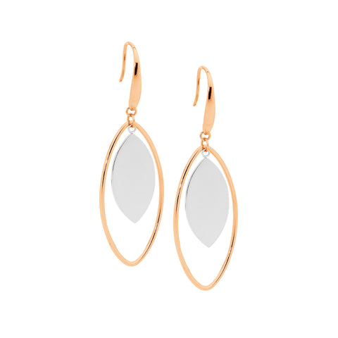 Ellani Stainless Steel Open Tear Drop Earrings with Rose IP With Steel Solid Centre SE191R