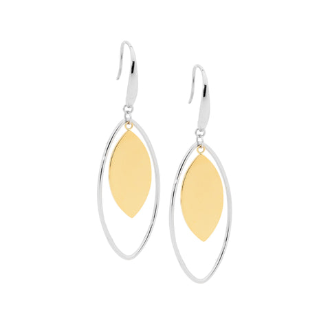 Ellani Stainless Steel Open Tear Drop Earrings With Steel Solid Centre in Gold IP SE191S-G