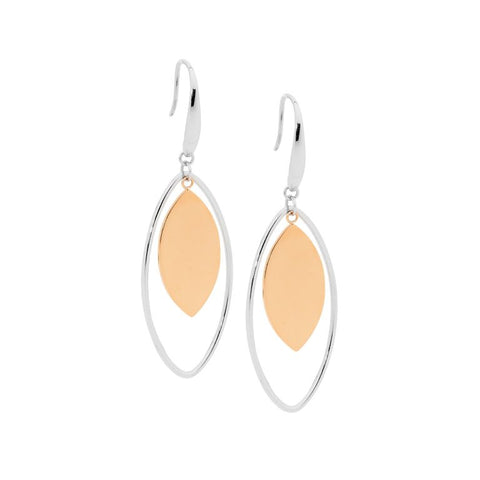 Ellani Stainless Steel Open Tear Drop Earrings With Steel Solid Centre in Rose IP SE191S-R