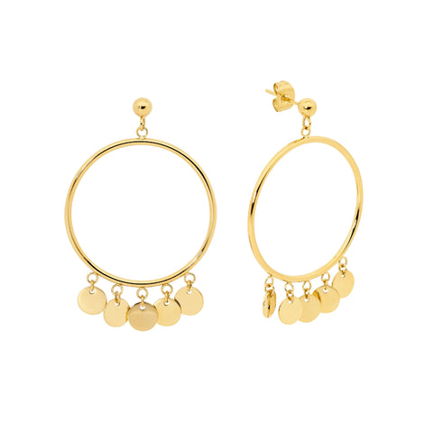 Ellani Stainless Steel Yellow Gold Plated Earrings SE179G 3cm Open Circle, 5 x Discs