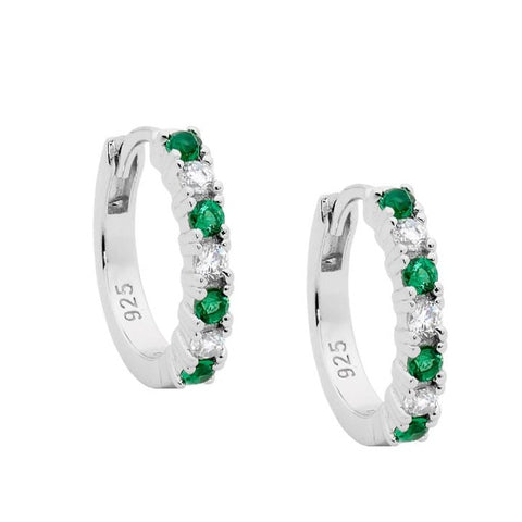 Ellani Sterling Silver 15mm Hoop Earrings With White & Green CZ E533GN